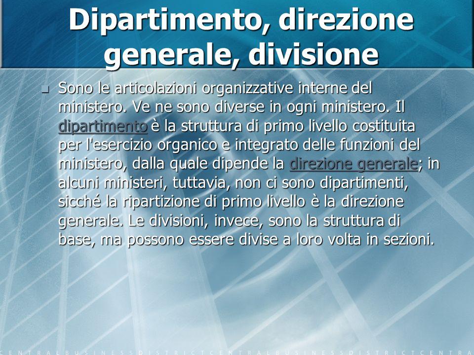 Dipartimento, direzione generale, divisione Sono le articolazioni organizzative interne del ministero.