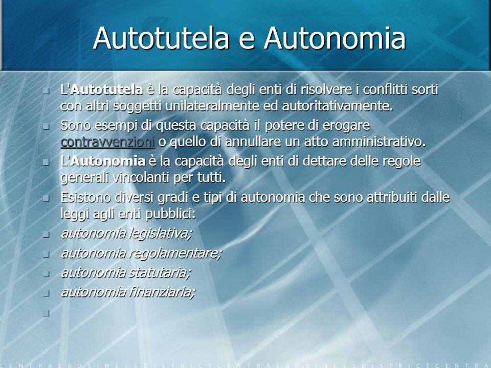 Autotutela e Autonomia L Autotutela è la capacità degli enti di risolvere i conflitti sorti con altri soggetti unilateralmente ed autoritativamente.