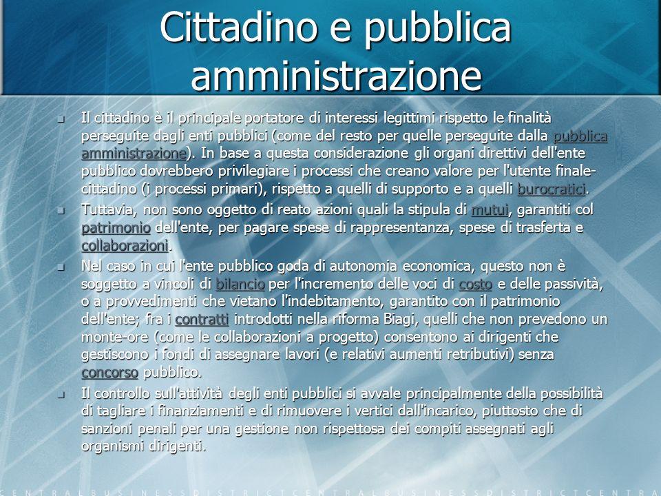 Cittadino e pubblica amministrazione Il cittadino è il principale portatore di interessi legittimi rispetto le finalità perseguite dagli enti pubblici (come del resto per quelle perseguite dalla pubblica amministrazione).