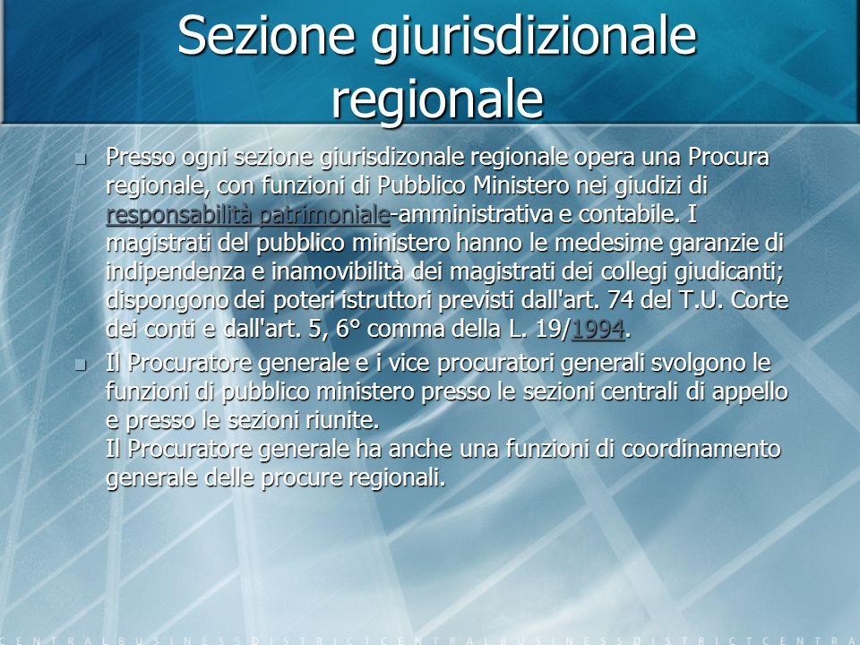 Sezione giurisdizionale regionale Presso ogni sezione giurisdizonale regionale opera una Procura regionale, con funzioni di Pubblico Ministero nei giudizi di responsabilità patrimoniale-amministrativa e contabile.