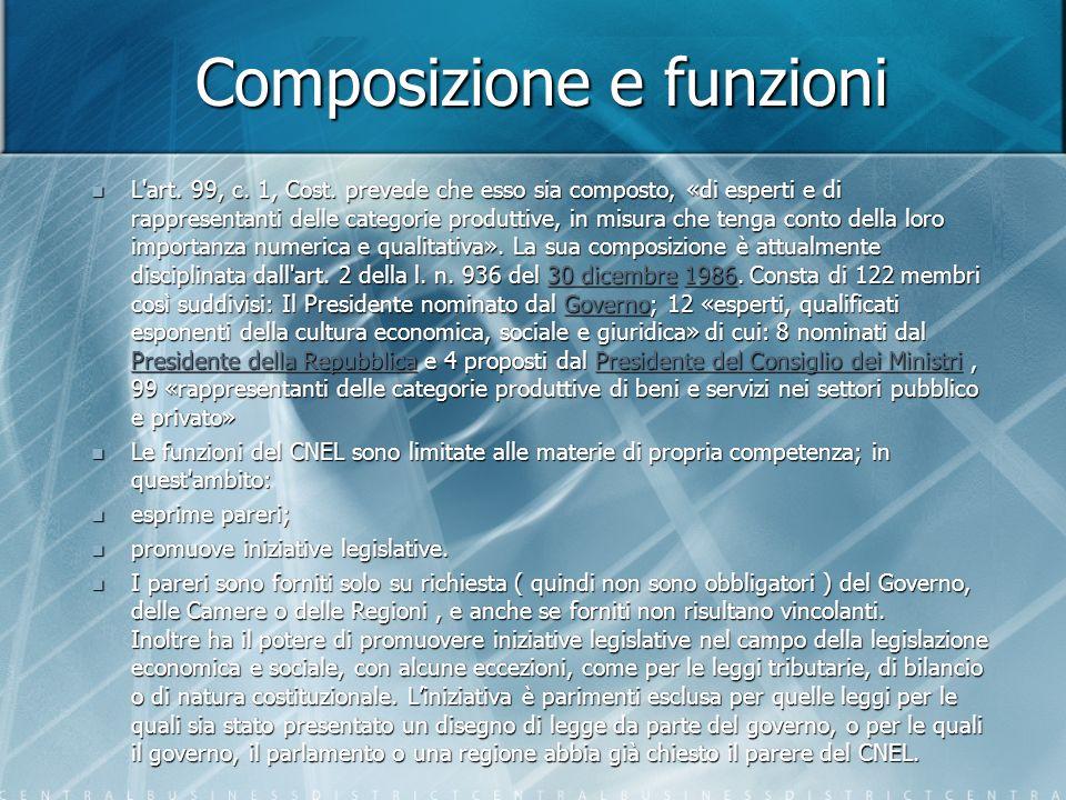 Composizione e funzioni L art. 99, c. 1, Cost.