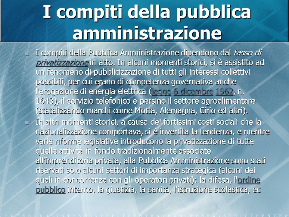 I compiti della pubblica amministrazione I compiti della Pubblica Amministrazione dipendono dal tasso di privatizzazione in atto.