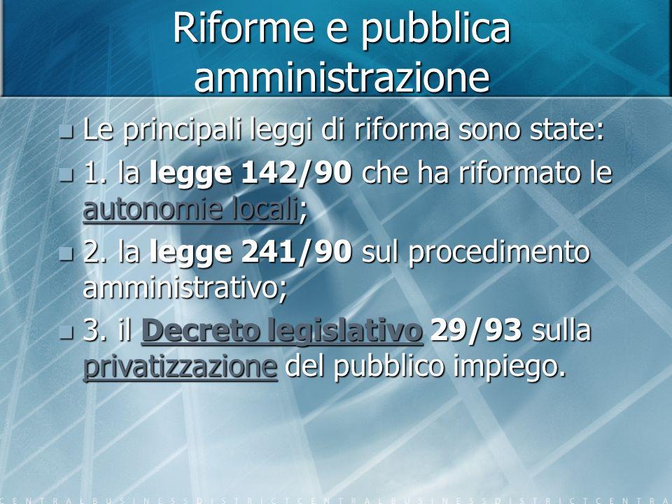 Riforme e pubblica amministrazione Le principali leggi di riforma sono state: Le principali leggi di riforma sono state: 1.