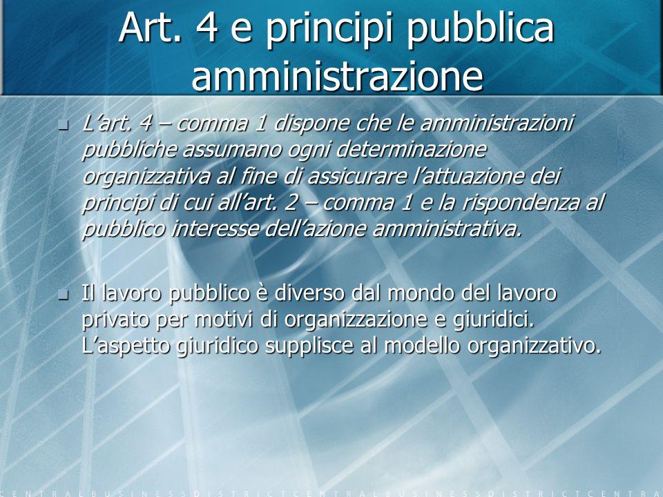 Art. 4 e principi pubblica amministrazione Lart.