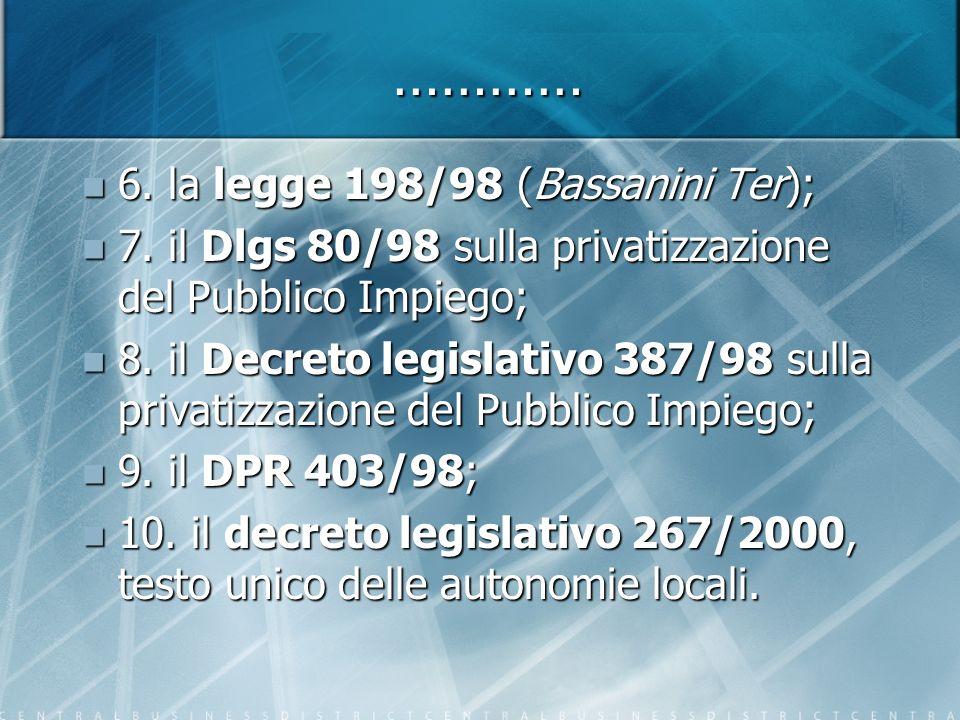 ………… 6. la legge 198/98 (Bassanini Ter); 6. la legge 198/98 (Bassanini Ter); 7.