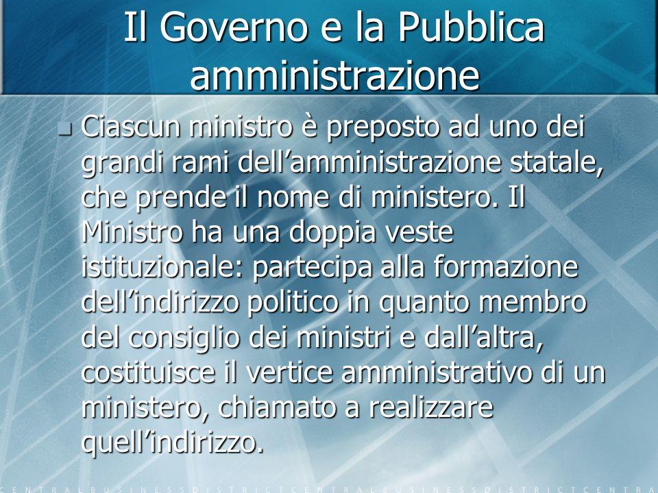 Il Governo e la Pubblica amministrazione Ciascun ministro è preposto ad uno dei grandi rami dellamministrazione statale, che prende il nome di ministero.