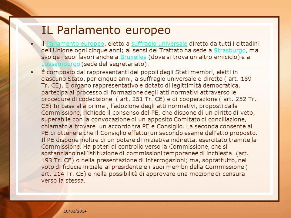 IL Parlamento europeo il Parlamento europeo, eletto a suffragio universale diretto da tutti i cittadini dell'Unione ogni cinque anni; ai sensi del Tra