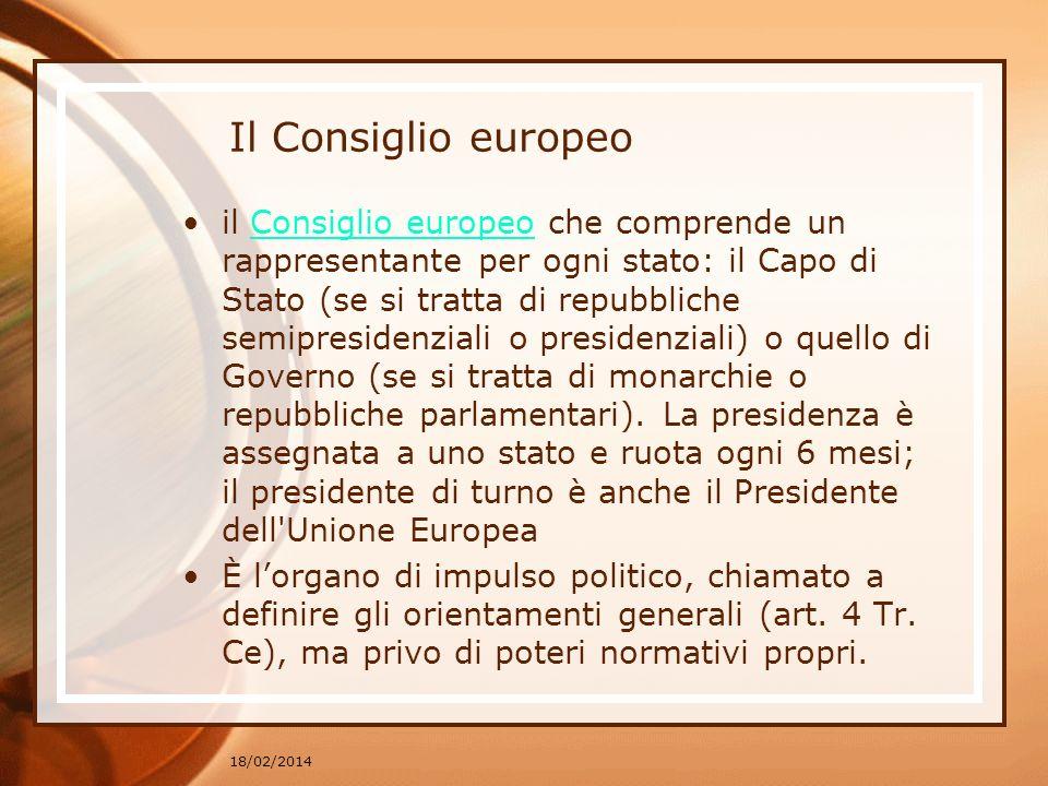 Il Consiglio europeo il Consiglio europeo che comprende un rappresentante per ogni stato: il Capo di Stato (se si tratta di repubbliche semipresidenzi