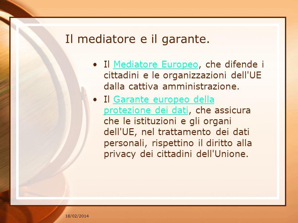Il mediatore e il garante. Il Mediatore Europeo, che difende i cittadini e le organizzazioni dell'UE dalla cattiva amministrazione.Mediatore Europeo I