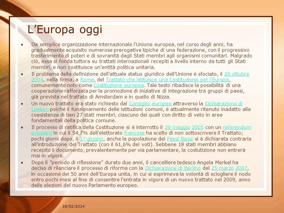 LEuropa oggi Da semplice organizzazione internazionale l'Unione europea, nel corso degli anni, ha gradualmente acquisito numerose prerogative tipiche