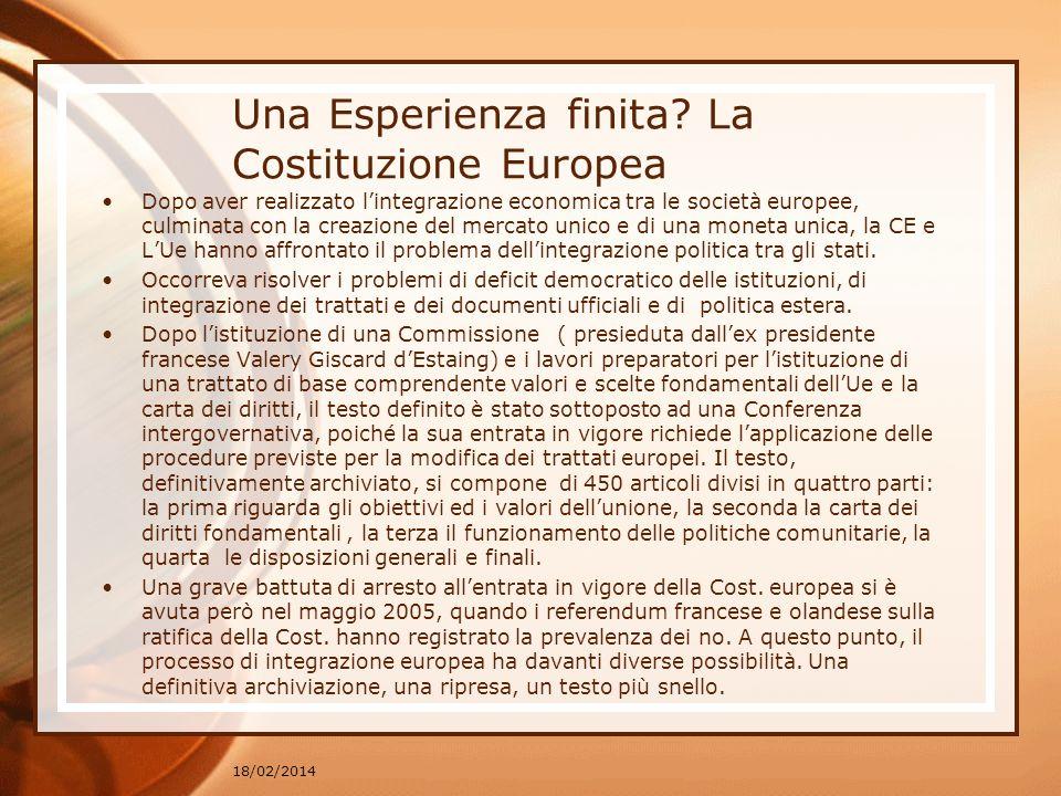 Una Esperienza finita? La Costituzione Europea Dopo aver realizzato lintegrazione economica tra le società europee, culminata con la creazione del mer