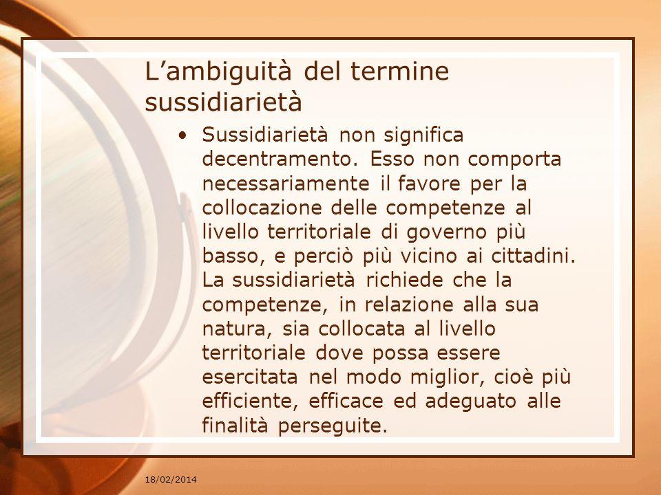 Lambiguità del termine sussidiarietà Sussidiarietà non significa decentramento. Esso non comporta necessariamente il favore per la collocazione delle