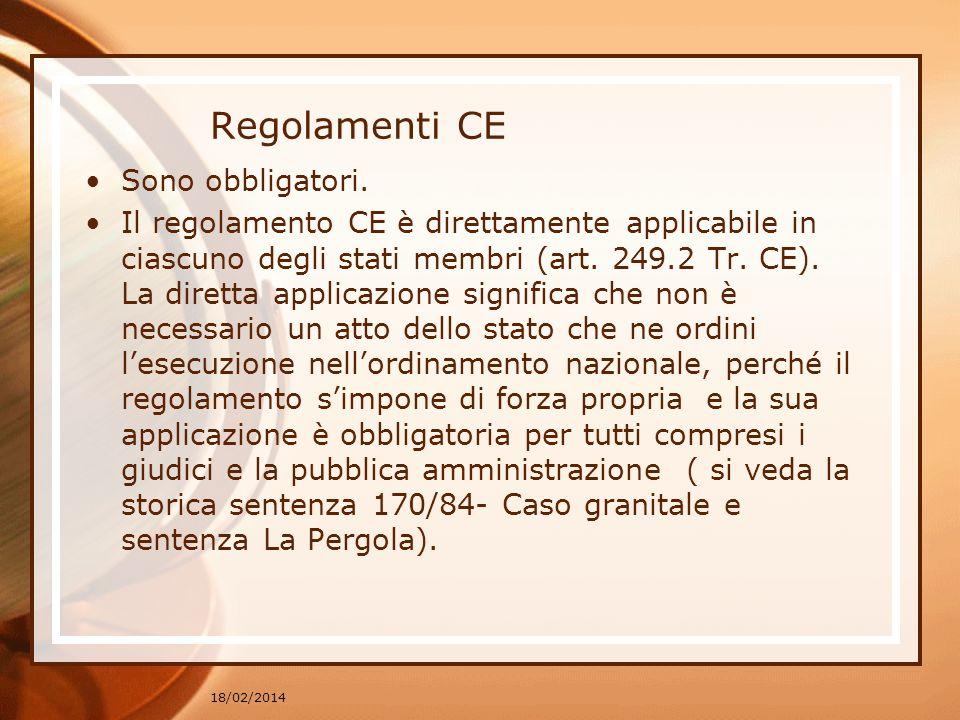 Regolamenti CE Sono obbligatori. Il regolamento CE è direttamente applicabile in ciascuno degli stati membri (art. 249.2 Tr. CE). La diretta applicazi