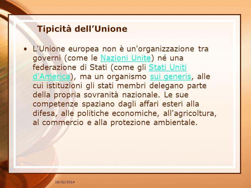 18/02/2014 Tipicità dellUnione L'Unione europea non è un'organizzazione tra governi (come le Nazioni Unite) né una federazione di Stati (come gli Stat