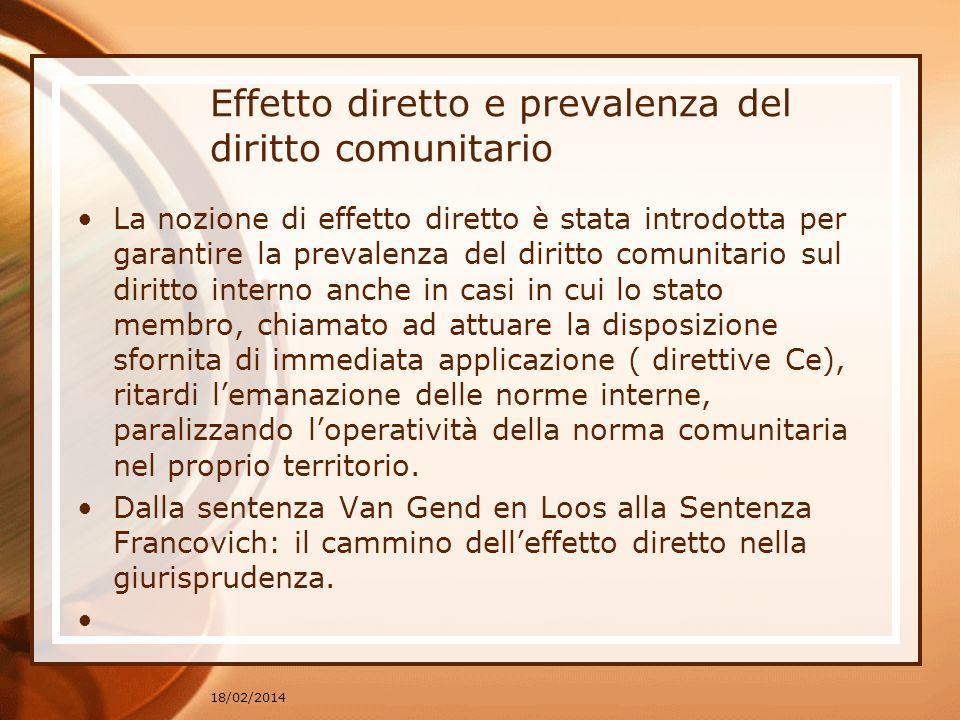 Effetto diretto e prevalenza del diritto comunitario La nozione di effetto diretto è stata introdotta per garantire la prevalenza del diritto comunita