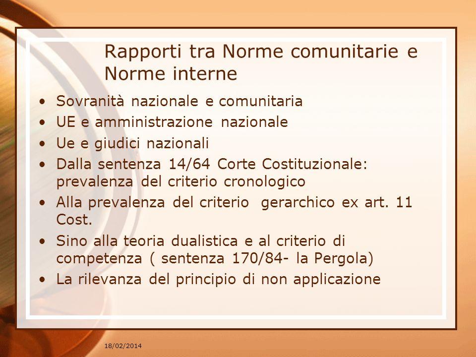 Rapporti tra Norme comunitarie e Norme interne Sovranità nazionale e comunitaria UE e amministrazione nazionale Ue e giudici nazionali Dalla sentenza