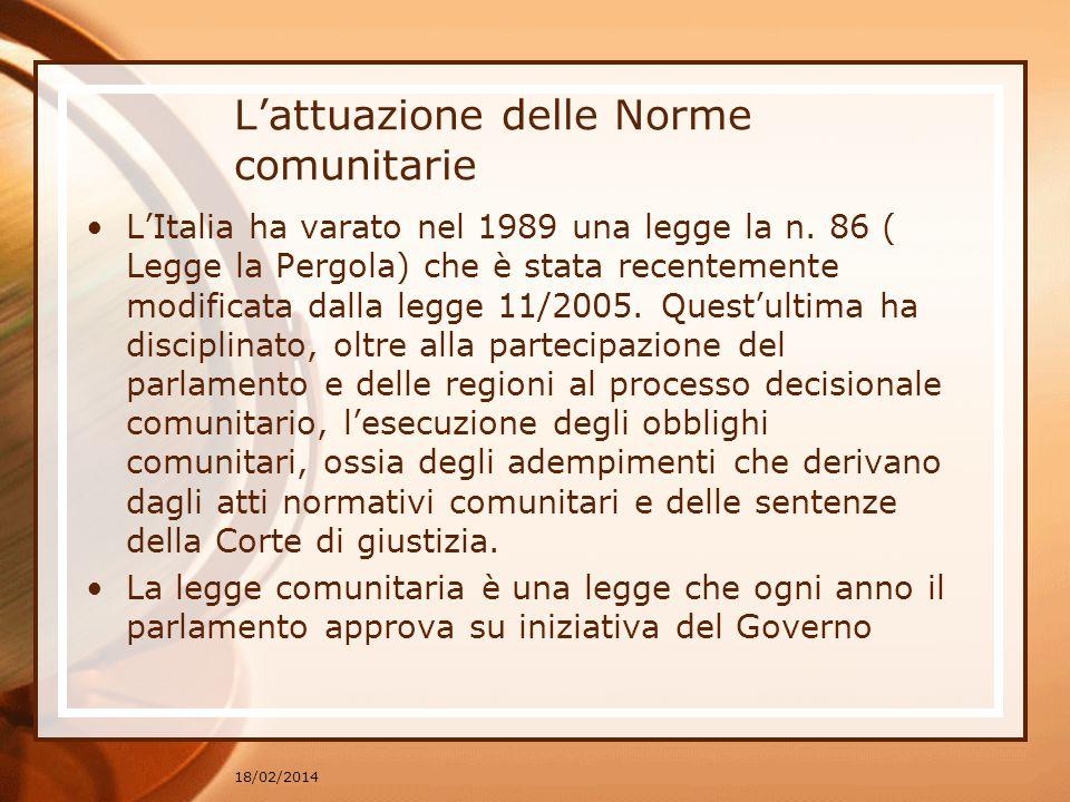 Lattuazione delle Norme comunitarie LItalia ha varato nel 1989 una legge la n. 86 ( Legge la Pergola) che è stata recentemente modificata dalla legge