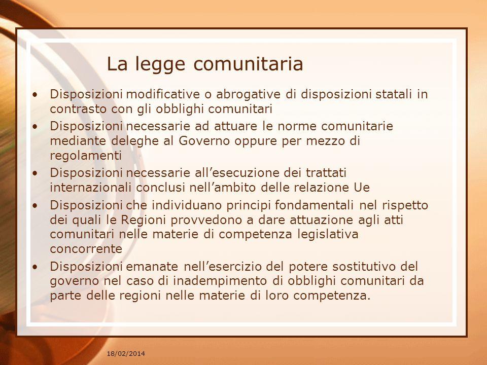 La legge comunitaria Disposizioni modificative o abrogative di disposizioni statali in contrasto con gli obblighi comunitari Disposizioni necessarie a