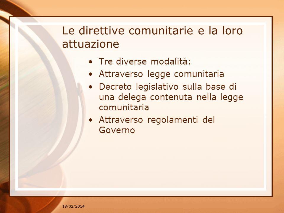 Le direttive comunitarie e la loro attuazione Tre diverse modalità: Attraverso legge comunitaria Decreto legislativo sulla base di una delega contenut