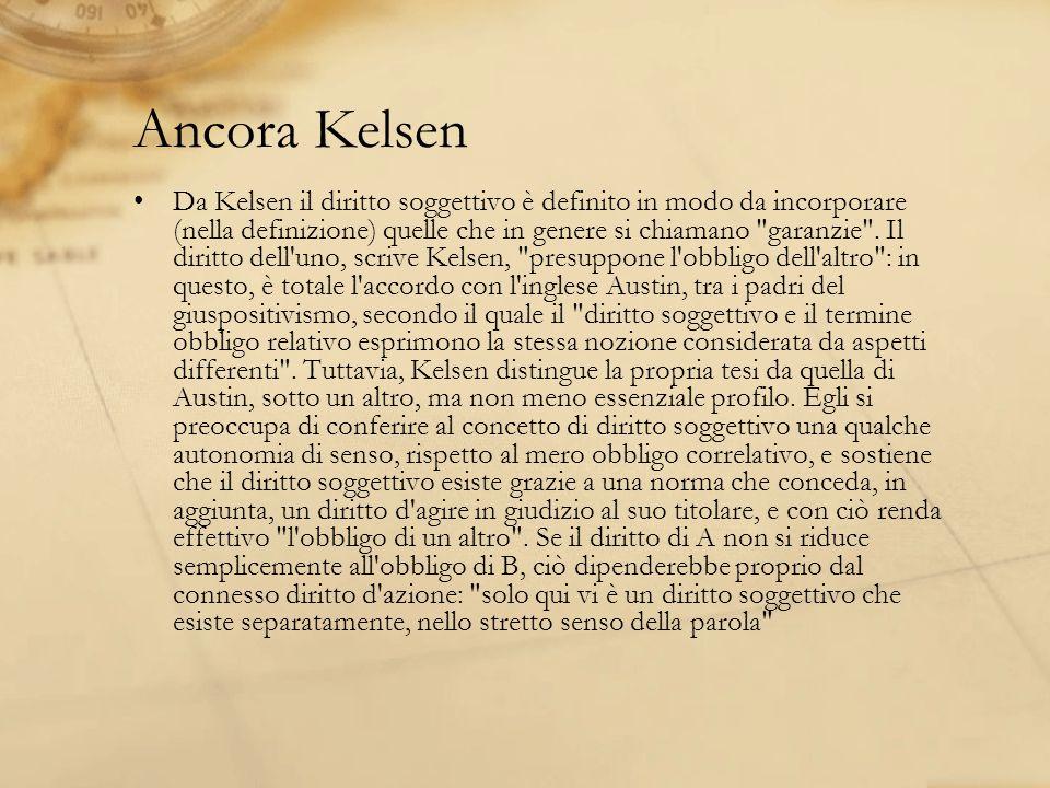 Ancora Kelsen Da Kelsen il diritto soggettivo è definito in modo da incorporare (nella definizione) quelle che in genere si chiamano