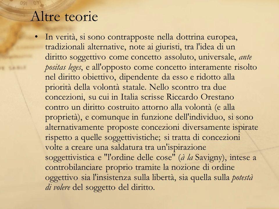 Altre teorie In verità, si sono contrapposte nella dottrina europea, tradizionali alternative, note ai giuristi, tra l'idea di un diritto soggettivo c