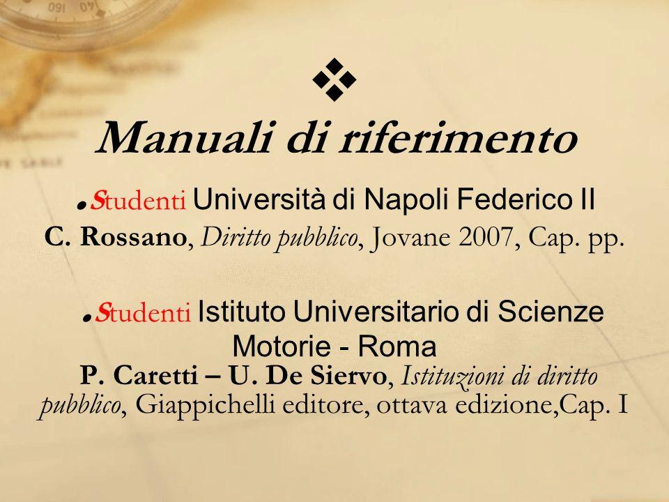 Manuali di riferimento. Studenti Università di Napoli Federico II C. Rossano, Diritto pubblico, Jovane 2007, Cap. pp.. Studenti Istituto Universitario
