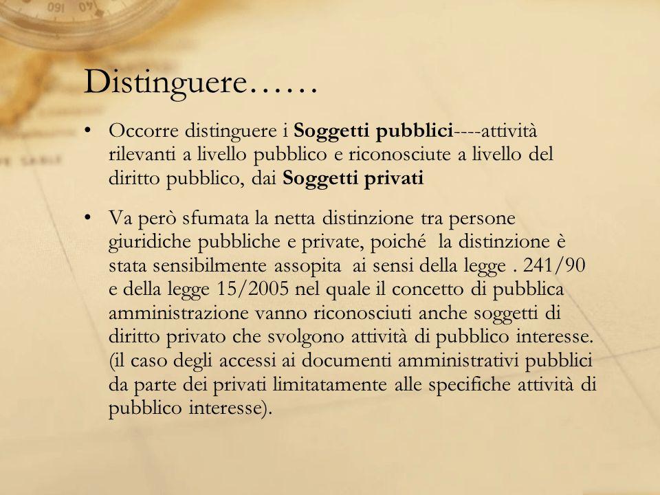 Distinguere…… Occorre distinguere i Soggetti pubblici----attività rilevanti a livello pubblico e riconosciute a livello del diritto pubblico, dai Sogg