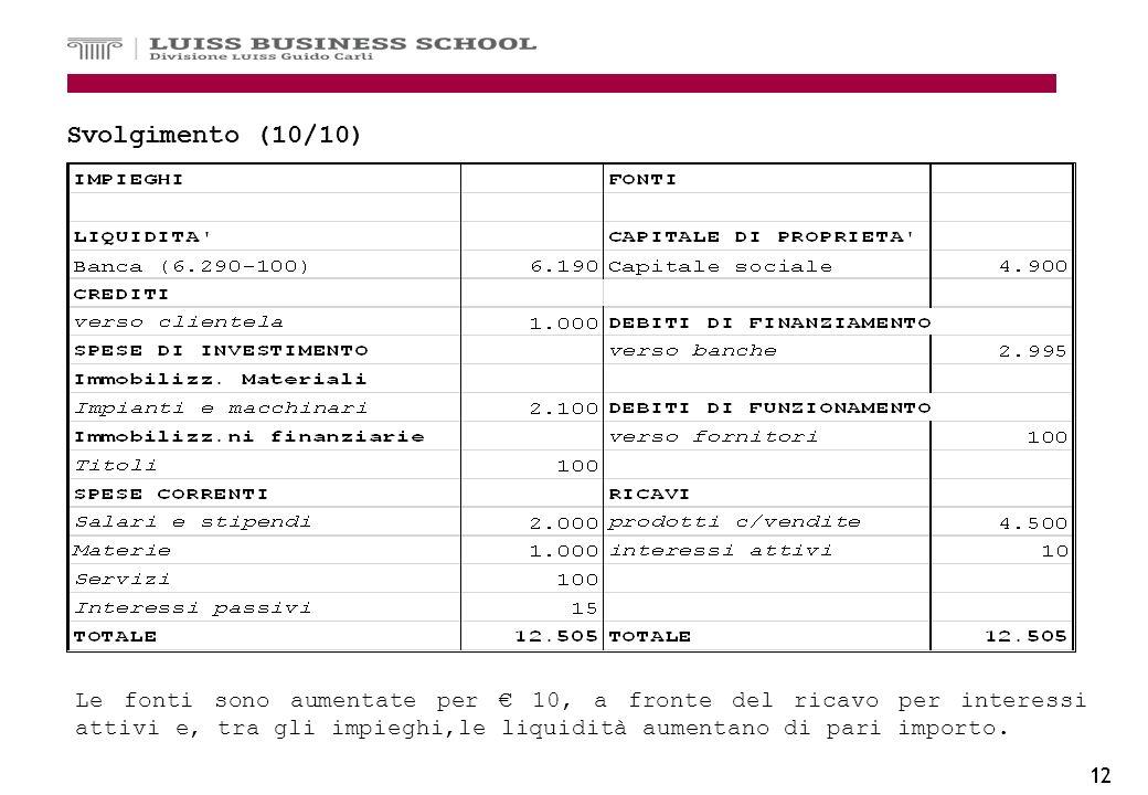 12 Svolgimento (10/10) Le fonti sono aumentate per 10, a fronte del ricavo per interessi attivi e, tra gli impieghi,le liquidità aumentano di pari imp