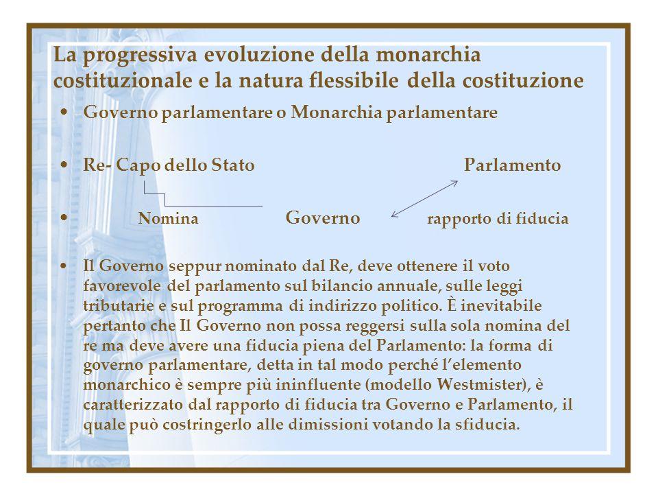 La progressiva evoluzione della monarchia costituzionale e la natura flessibile della costituzione Governo parlamentare o Monarchia parlamentare Re- C