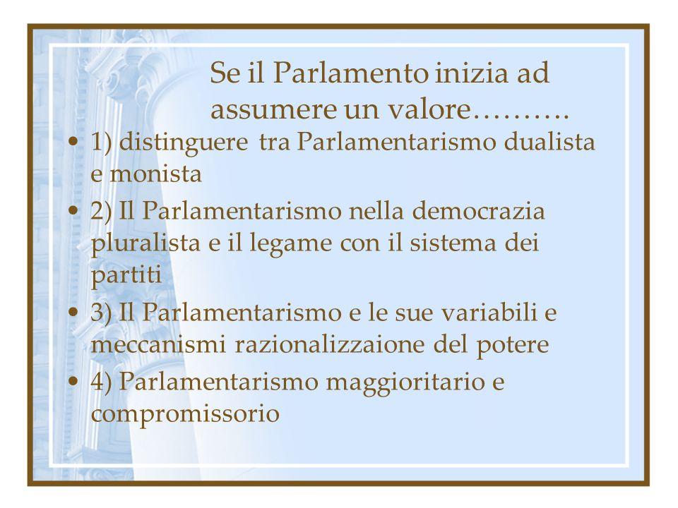 Se il Parlamento inizia ad assumere un valore………. 1) distinguere tra Parlamentarismo dualista e monista 2) Il Parlamentarismo nella democrazia plurali