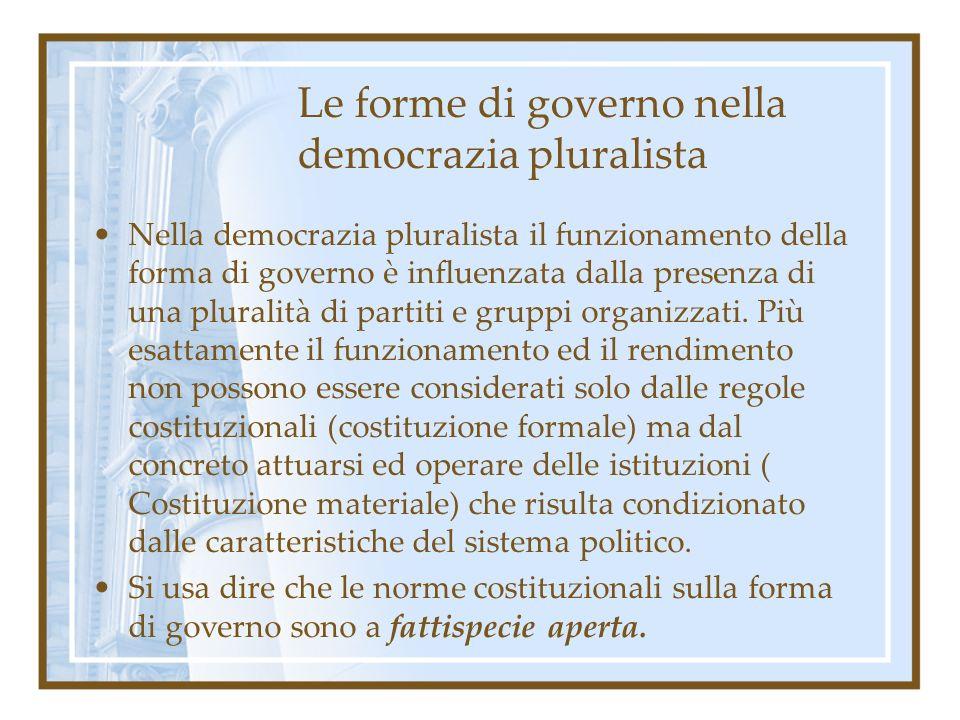 Le forme di governo nella democrazia pluralista Nella democrazia pluralista il funzionamento della forma di governo è influenzata dalla presenza di un