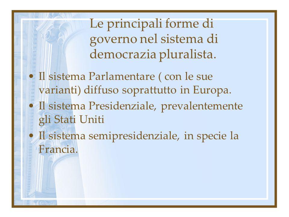 Le principali forme di governo nel sistema di democrazia pluralista. Il sistema Parlamentare ( con le sue varianti) diffuso soprattutto in Europa. Il
