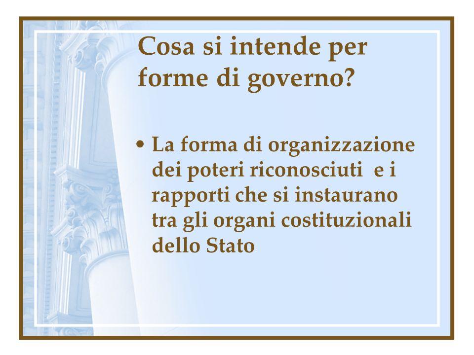 Cosa si intende per forme di governo? La forma di organizzazione dei poteri riconosciuti e i rapporti che si instaurano tra gli organi costituzionali