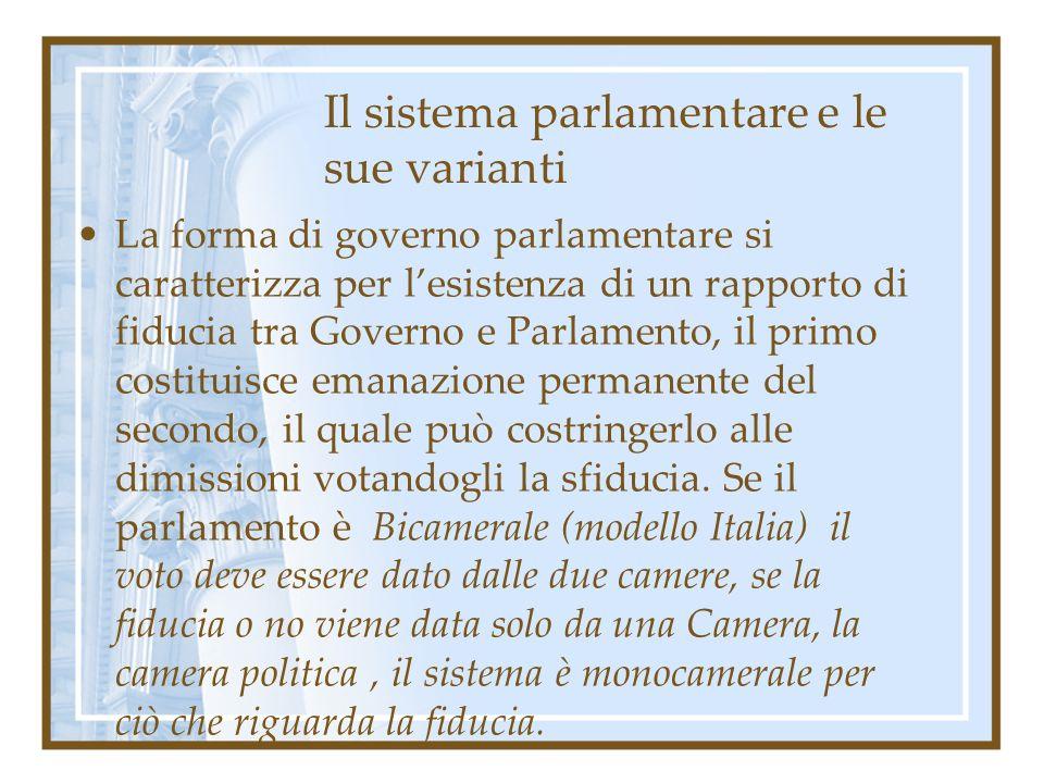 Il sistema parlamentare e le sue varianti La forma di governo parlamentare si caratterizza per lesistenza di un rapporto di fiducia tra Governo e Parl