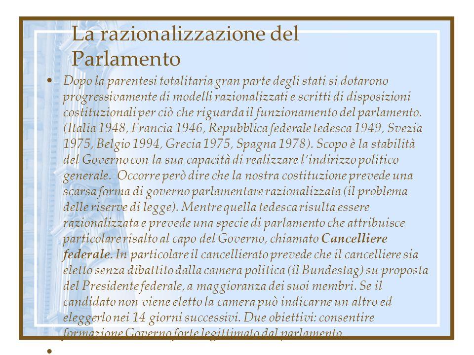 La razionalizzazione del Parlamento Dopo la parentesi totalitaria gran parte degli stati si dotarono progressivamente di modelli razionalizzati e scri