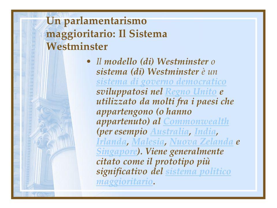 Un parlamentarismo maggioritario: Il Sistema Westminster Il modello (di) Westminster o sistema (di) Westminster è un sistema di governo democratico sv