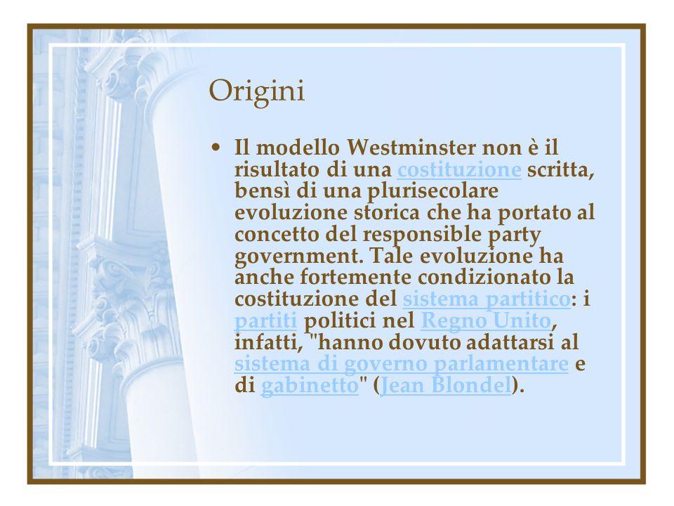 Origini Il modello Westminster non è il risultato di una costituzione scritta, bensì di una plurisecolare evoluzione storica che ha portato al concett
