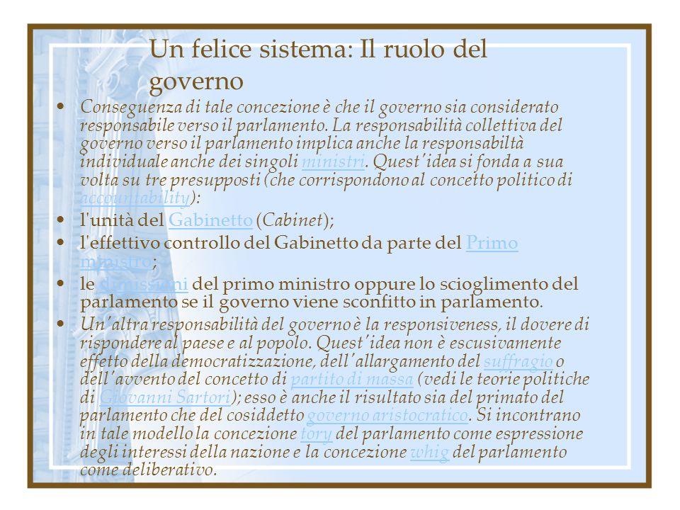 Un felice sistema: Il ruolo del governo Conseguenza di tale concezione è che il governo sia considerato responsabile verso il parlamento. La responsab