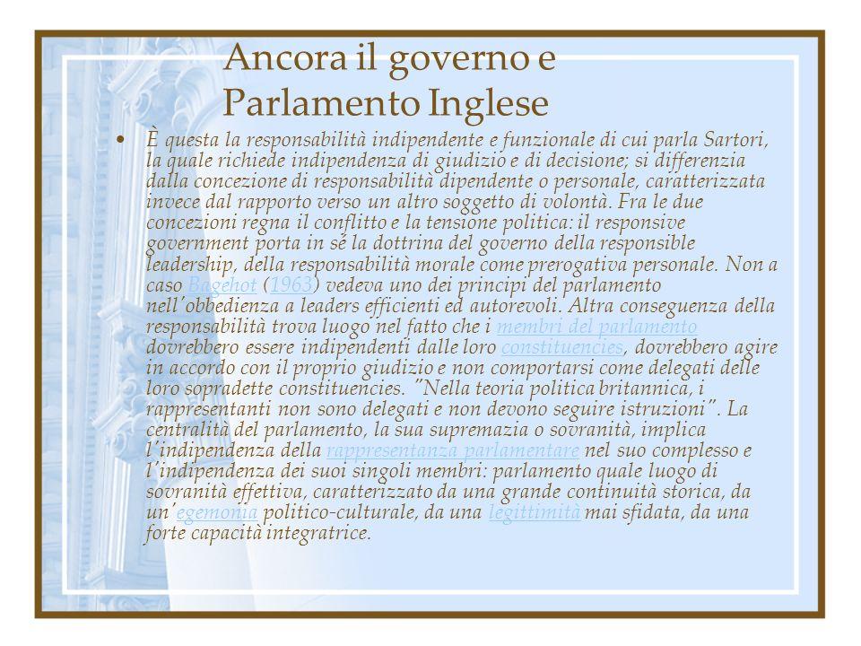Ancora il governo e Parlamento Inglese È questa la responsabilità indipendente e funzionale di cui parla Sartori, la quale richiede indipendenza di gi