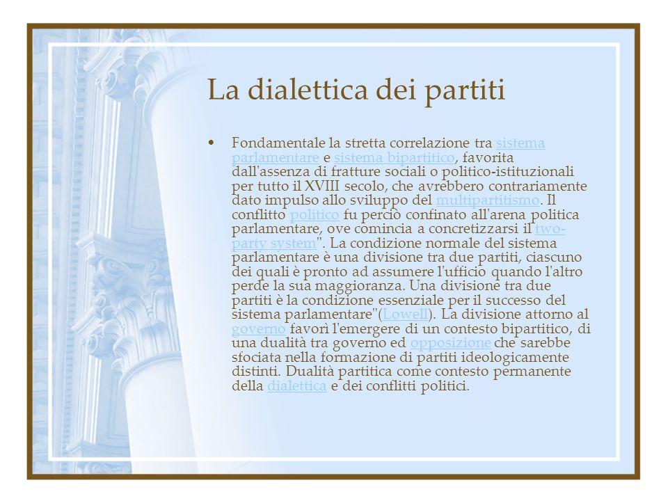 La dialettica dei partiti Fondamentale la stretta correlazione tra sistema parlamentare e sistema bipartitico, favorita dall'assenza di fratture socia