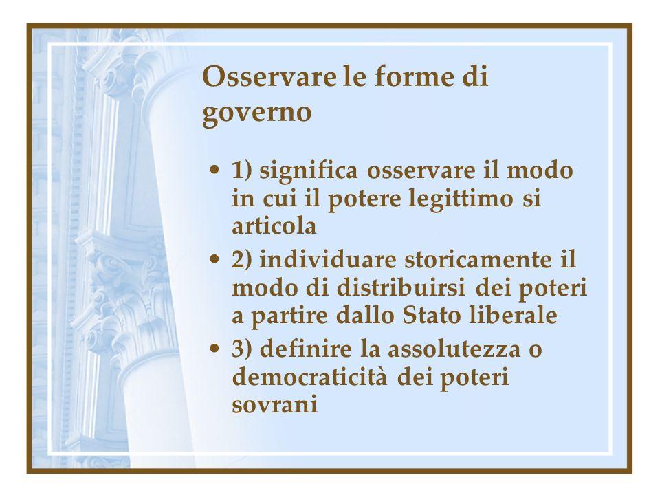 Osservare le forme di governo 1) significa osservare il modo in cui il potere legittimo si articola 2) individuare storicamente il modo di distribuirs