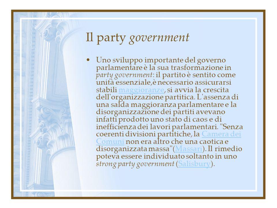 Il party government Uno sviluppo importante del governo parlamentare è la sua trasformazione in party government: il partito è sentito come unità esse