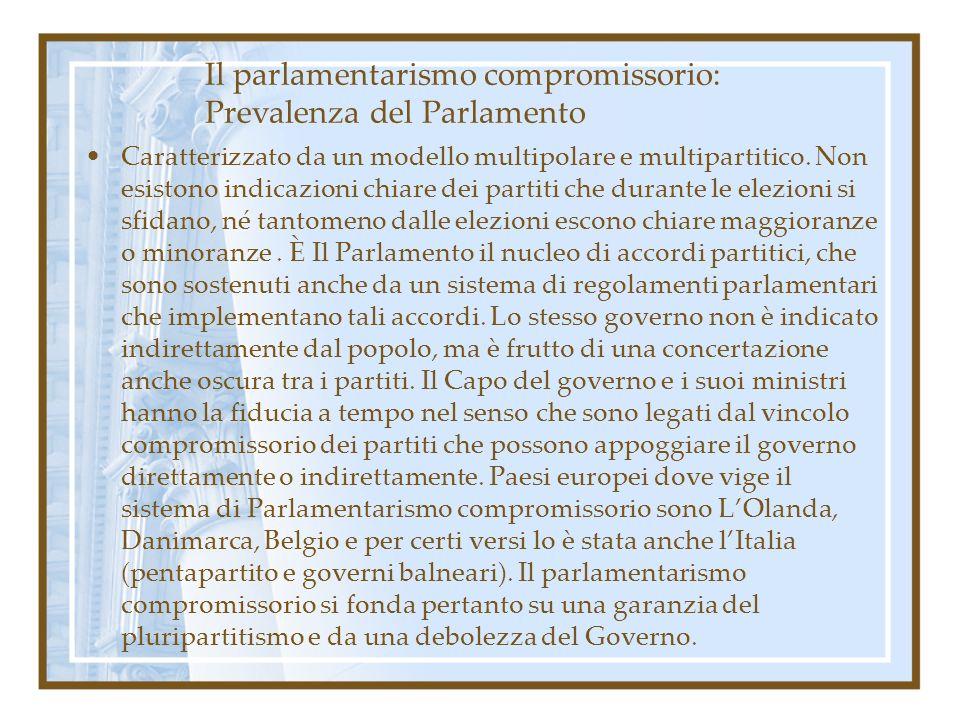 Il parlamentarismo compromissorio: Prevalenza del Parlamento Caratterizzato da un modello multipolare e multipartitico. Non esistono indicazioni chiar