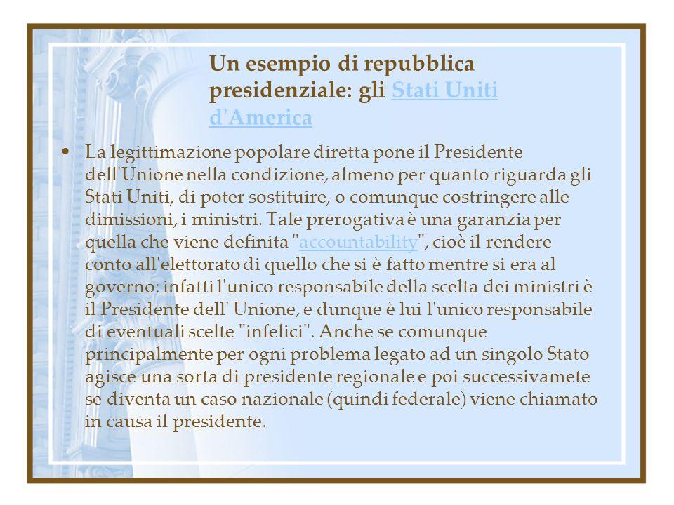 Un esempio di repubblica presidenziale: gli Stati Uniti d'AmericaStati Uniti d'America La legittimazione popolare diretta pone il Presidente dell'Unio