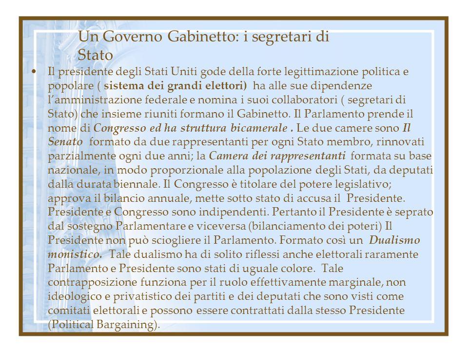 Un Governo Gabinetto: i segretari di Stato Il presidente degli Stati Uniti gode della forte legittimazione politica e popolare ( sistema dei grandi el