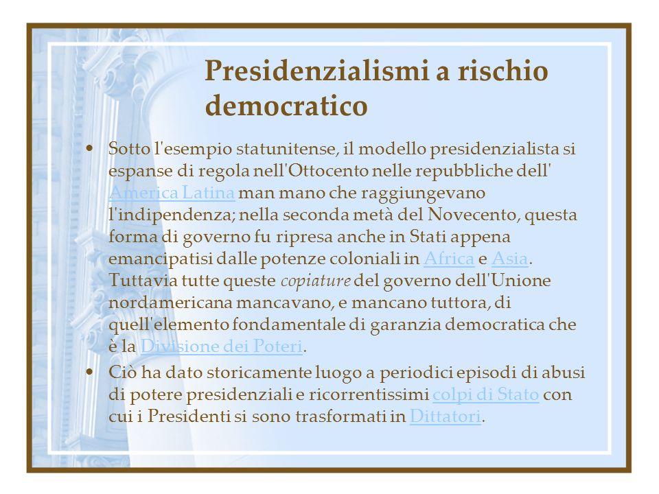 Presidenzialismi a rischio democratico Sotto l'esempio statunitense, il modello presidenzialista si espanse di regola nell'Ottocento nelle repubbliche
