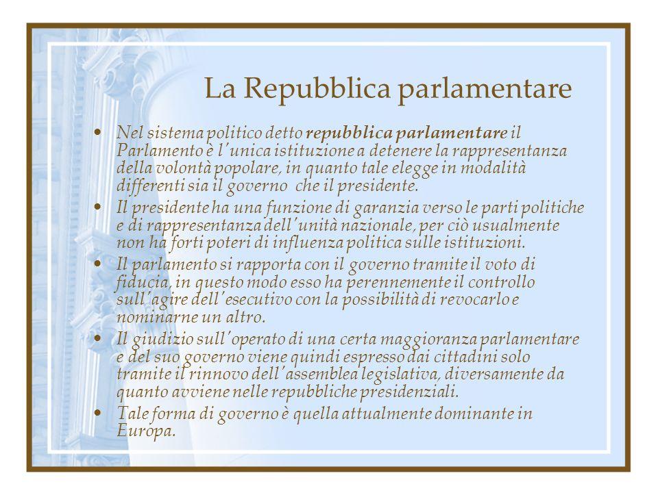 La Repubblica parlamentare Nel sistema politico detto repubblica parlamentare il Parlamento è l'unica istituzione a detenere la rappresentanza della v