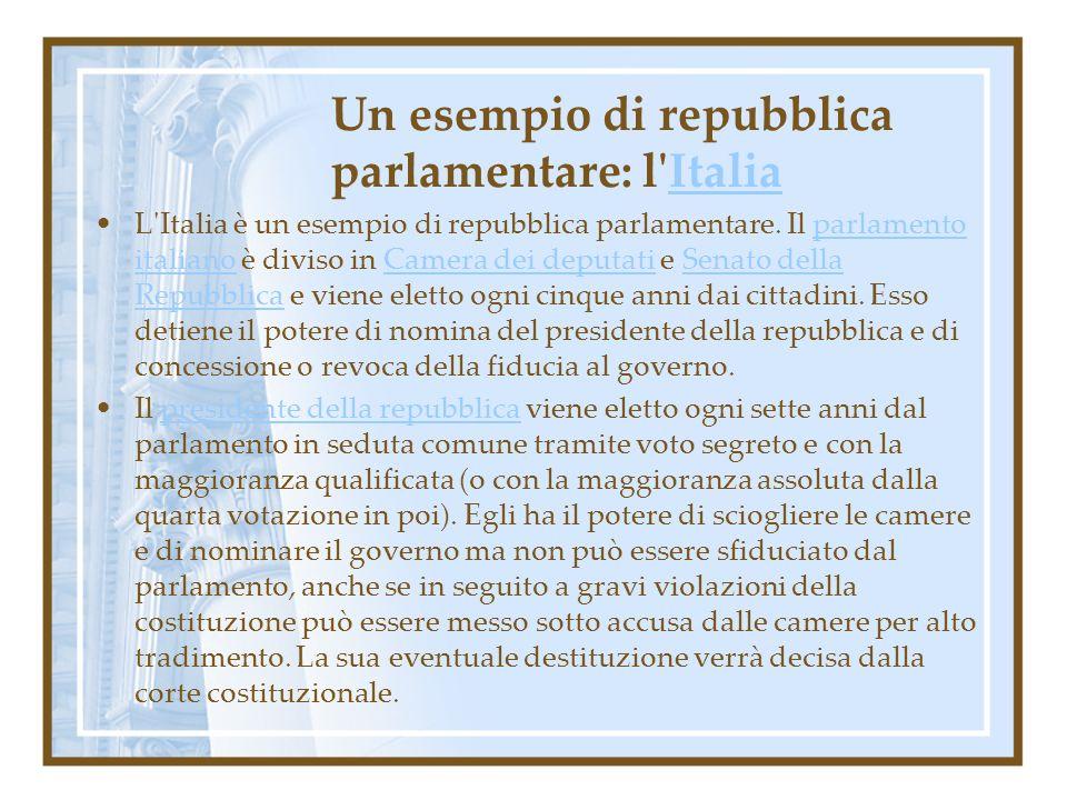 Un esempio di repubblica parlamentare: l'ItaliaItalia L'Italia è un esempio di repubblica parlamentare. Il parlamento italiano è diviso in Camera dei
