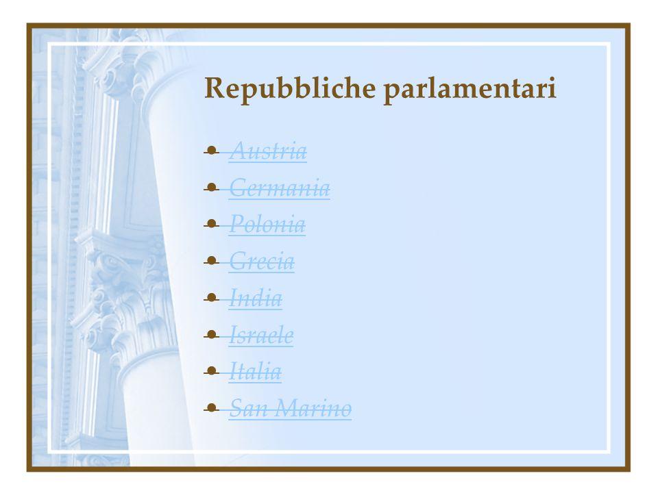 Repubbliche parlamentari Austria Germania Polonia Grecia India Israele Italia San Marino