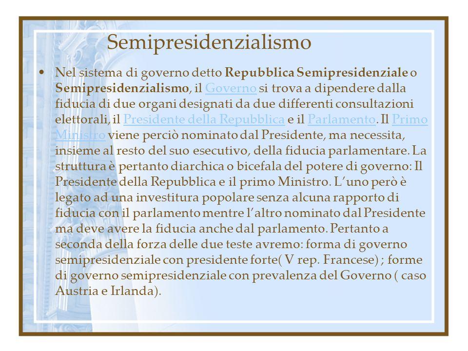Semipresidenzialismo Nel sistema di governo detto Repubblica Semipresidenziale o Semipresidenzialismo, il Governo si trova a dipendere dalla fiducia d